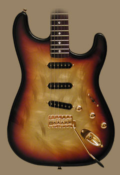 The Gigliotti GS in a tobaccoburst tri-color finish